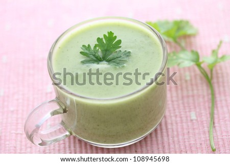 green vegetables soup - stock photo