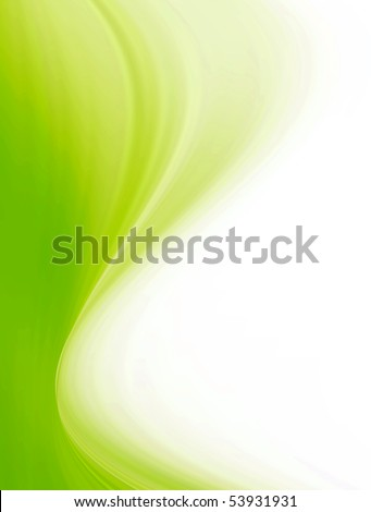 Green vertical wave over white background. Abstract and dynamic design