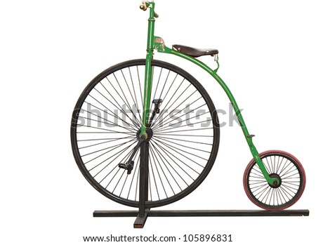 Green vintage bicycle with clipping path