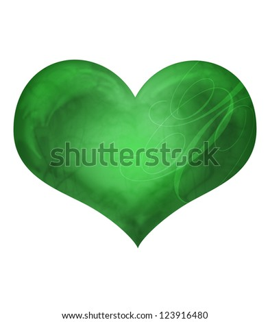 Green vintage heart, valentines day concept.