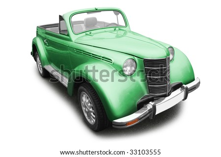 green vintage old car isolated on white background