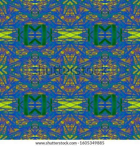 Green Vintage Seamless Background. Ornamental Geometry. Ornamental Geometry. Golden Black Oriental style. Indian Tribal Art. Glamure Kaleidoscope Effect. Floral Design. Floral Pattern.