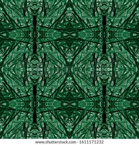 Green Vintage Seamless Pattern Tile. Ornamental Geometry. Ornamental Geometry. Golden Black Oriental style. Dark Texture. Glamure Kaleidoscope Art. Floral Design. Floral Design.