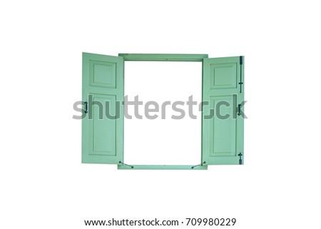 green vintage window isolated...