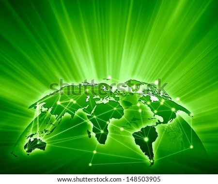 Green vivid image of globe. Globalization concept