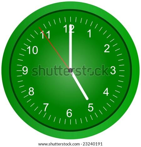 Green wall clock illustration at 5am/pm