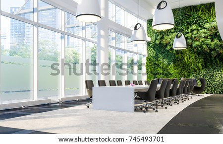 Green Wall in Office. Meeting hall in business center. Meeting interior. Vertical Garden. 3d illustration.