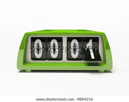 Green watch - counter isolated on white background 3D