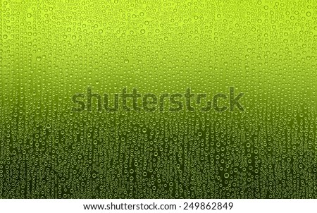Green Water Droplets. Water condensation forms a random pattern of circular water droplets of varying sizes. Background fades from yellow green to dark green.