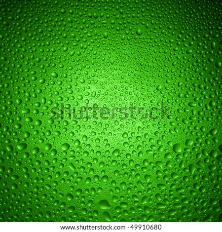 green water drops on glass