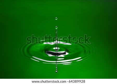 Green water environmental abstract background - green water drop splashing in water.