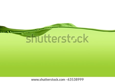 Stock Photo Green water line isolated on a white background.