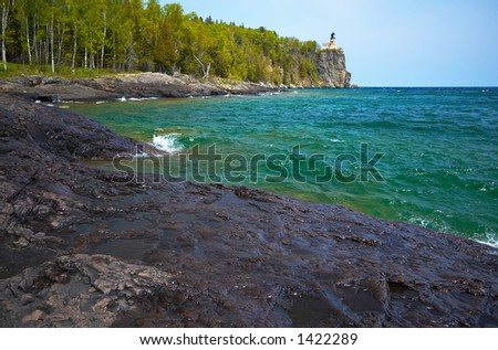 Green water under Split Rock Light House on Lake Superior North Shore. More with keyword Series14.