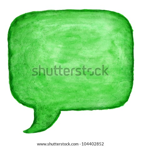 Green watercolor blank speech bubble dialog square shape on white background