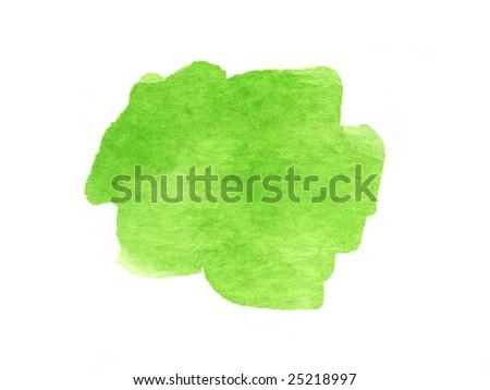 green watercolor blotch