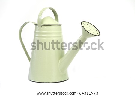 green watering can, isolated on white background