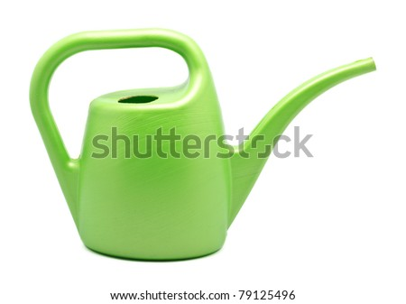 green watering can isolated on white background