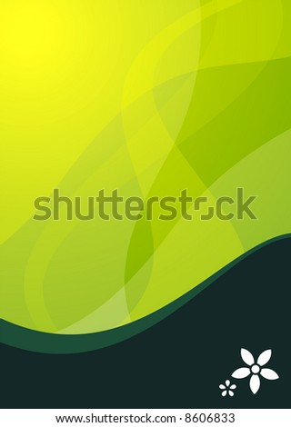 green wave background ideal for presentations - portrait version
