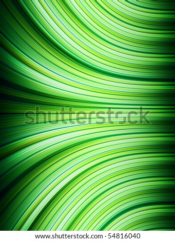 Green wave leaf shape with lines yellow and white. Illustration
