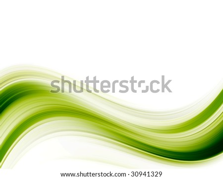 green wave over white background. Abstract image