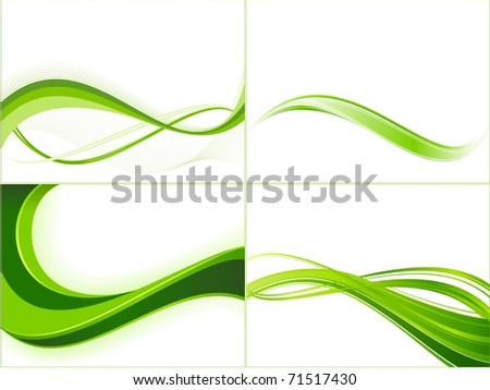 Green wave patterns. Vector version available.