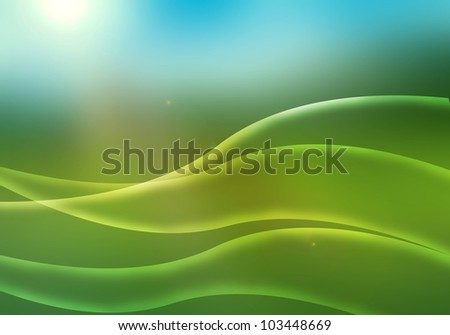 Green waves energy on blue background
