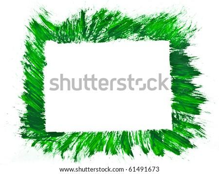 Green wbrush strokes frame