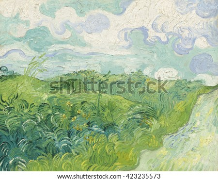 Green Wheat Fields, Auvers, by Vincent van Gogh, 1890, Dutch Post-Impressionist painting, oil on canvas. Painted in the last months of his life, Van Gogh\'s painted with broad calligraphic strokes. Th
