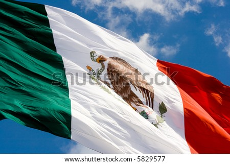 Green, white and red Mexican flag waving.