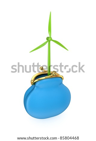 Green windmill in a blue purse.Isolated on white background.3d rendered.