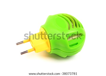 Green with yellow modern fumigator against insects isolated on white.