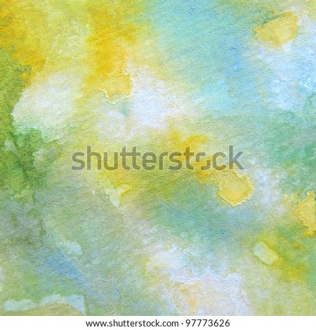 Green with Yellow Watercolor - stock photo