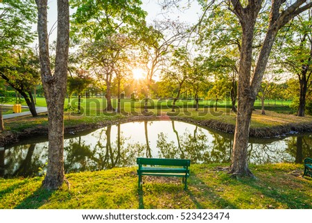 Green wood bench in summer park with sun light - Shutterstock ID 523423474