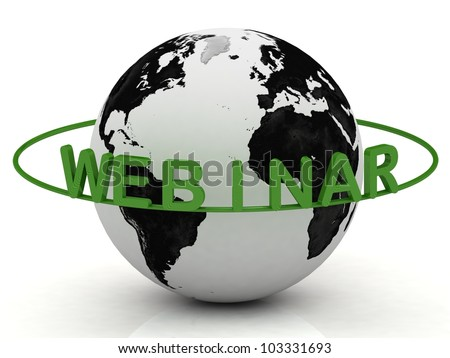 Green Wood Webinar and ring, abstraction of the inscription around the earth on a white background