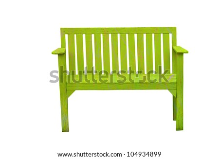 Green wooden bench in the white background