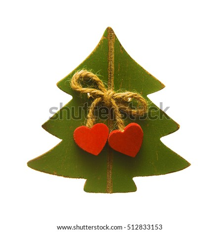 green wooden Christmas tree with two red heart. Couple of heart hang on vintage bow. Christmas tree. 2017 happy new year isolated on white background