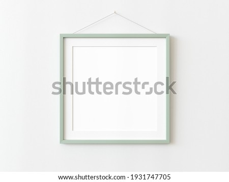 Green wooden squared frame hanging on a white textured wall mockup, Flat lay, top view, 3D illustration