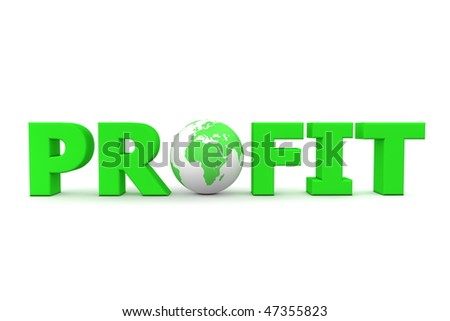 green word Profit with 3D globe replacing letter O