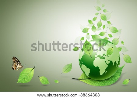 green world and green leaves, butterfly - stock photo