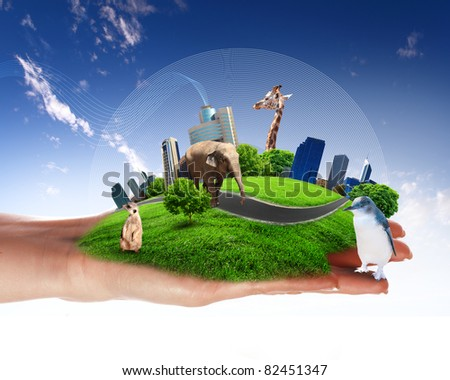 Green world and wildlife protection concept collage