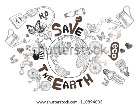 Green world drawing concept. Save the earth (jpg). vector version also available