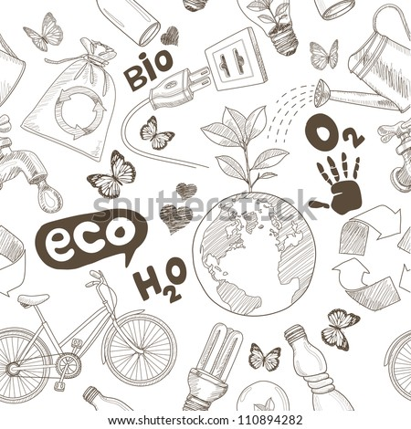 Green world drawing Save the earth concept. Ecology doodles icons seamless.