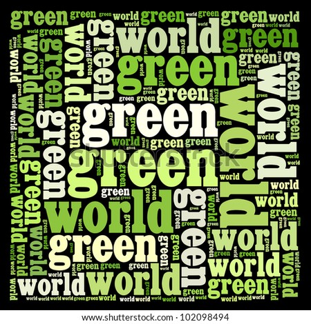 Green world info-text graphics and arrangement with bulb shape concept