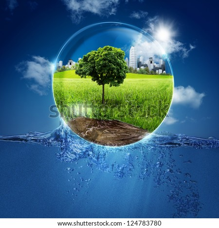 Green World Into The Bubble. Abstract Natural Backgrounds For Your Design