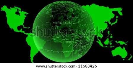 green world map and globe