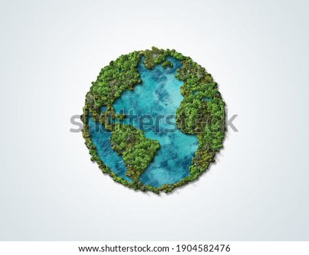 Green World Map- 3D tree or forest shape of world map isolated on white background. World Map Green Planet Earth Day or Environment day Concept. Green earth with electric car. Paris agreement concept.