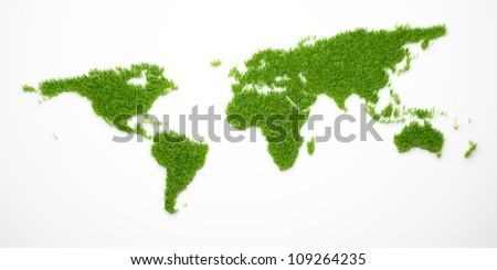 Green world map isolated on white - stock photo