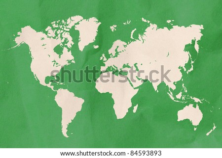 green world map with paper craft