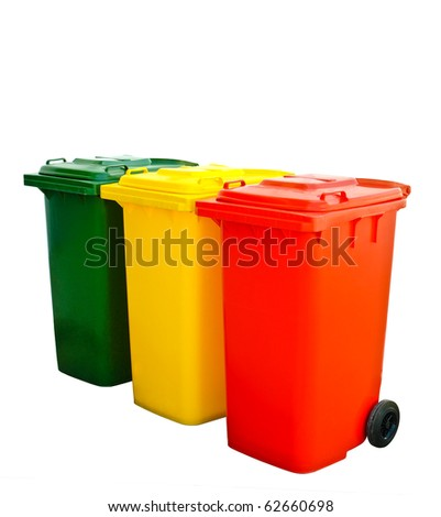 Green yellow and red  recycle bins Isolated