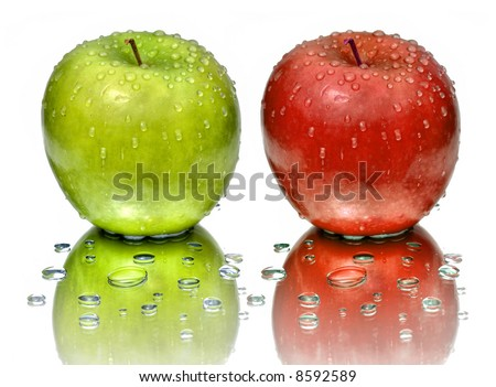 Green,Yellow Apple with water drops